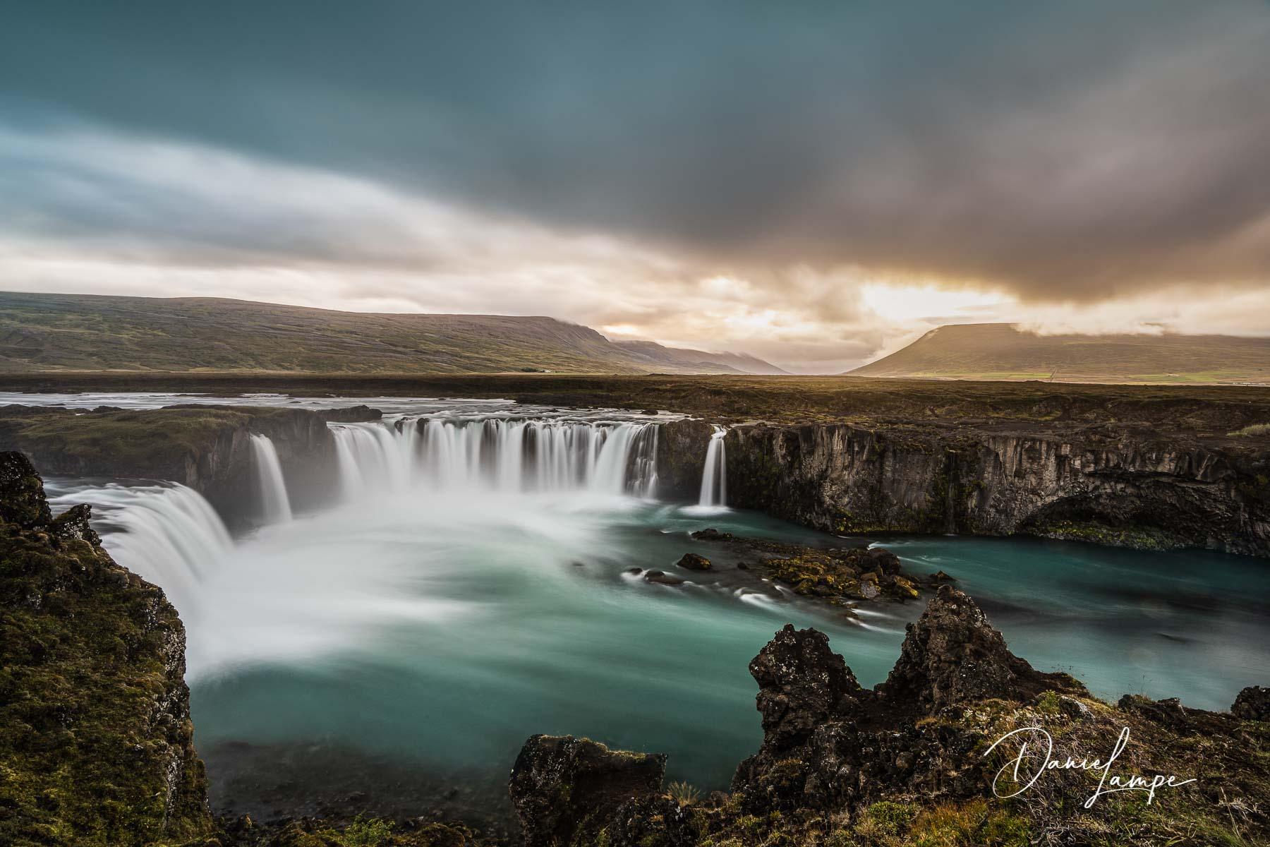 Island, Godafoss, Wasserfall, Sonnenuntergang