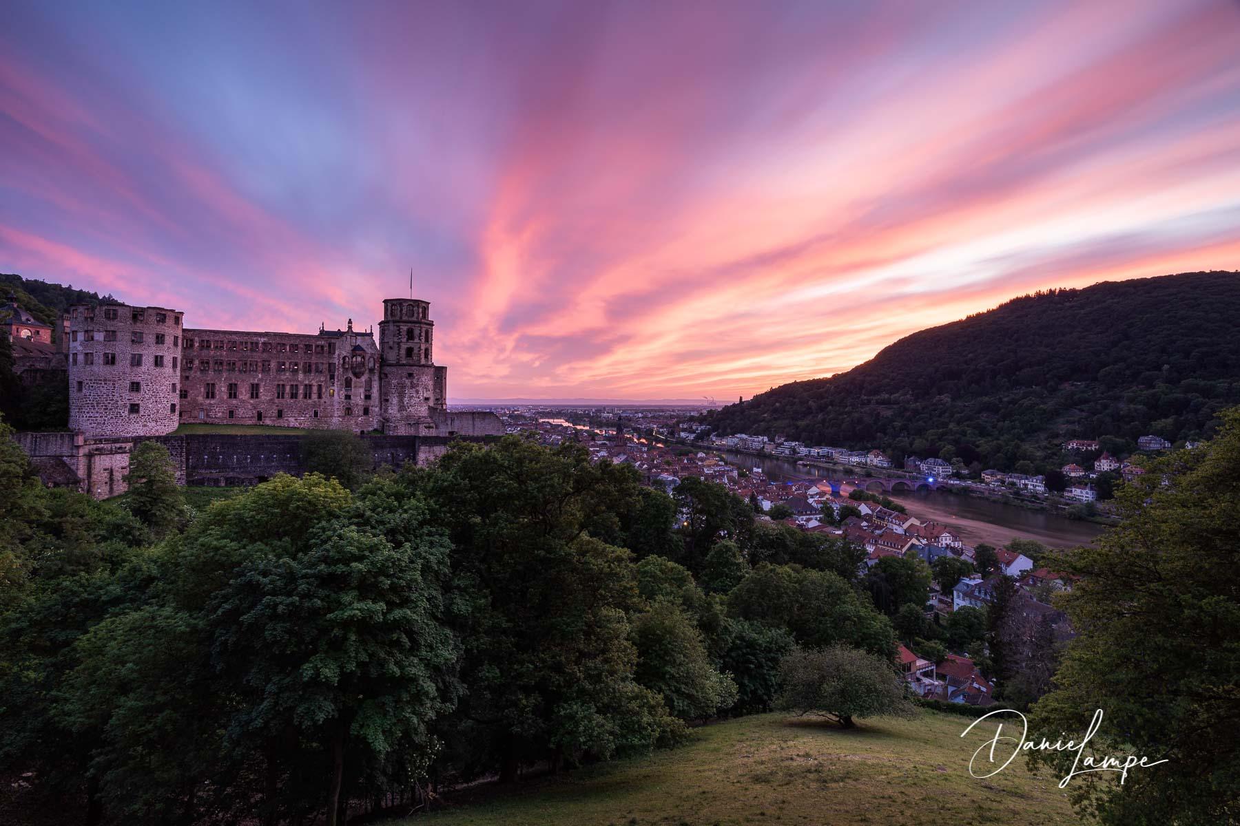 Deutschland, Heidelberg, Schloss, Alte Brücke, Karl-Theodor-Brücke, Altstadt, Abendrot, Sonnenuntergang